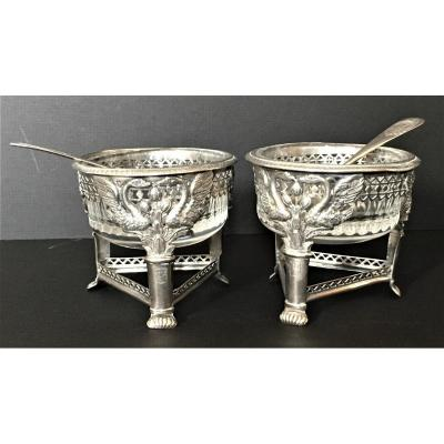 Pair Of Salerons In Silver First Empire Period