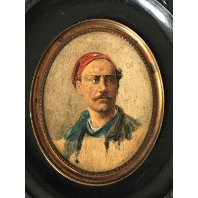 Miniature Portrait Att à Brunel De Neuville Huile Sur Papier