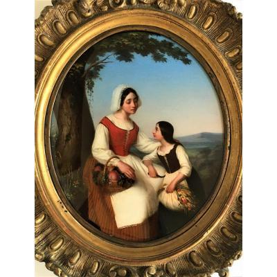 Mathilde Lehaut 1816/1880 grand Fixé Sous Verre De 1845