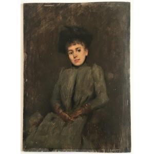 Portrait D'élégante Vers 1900 Huile Sur Panneau esquisse