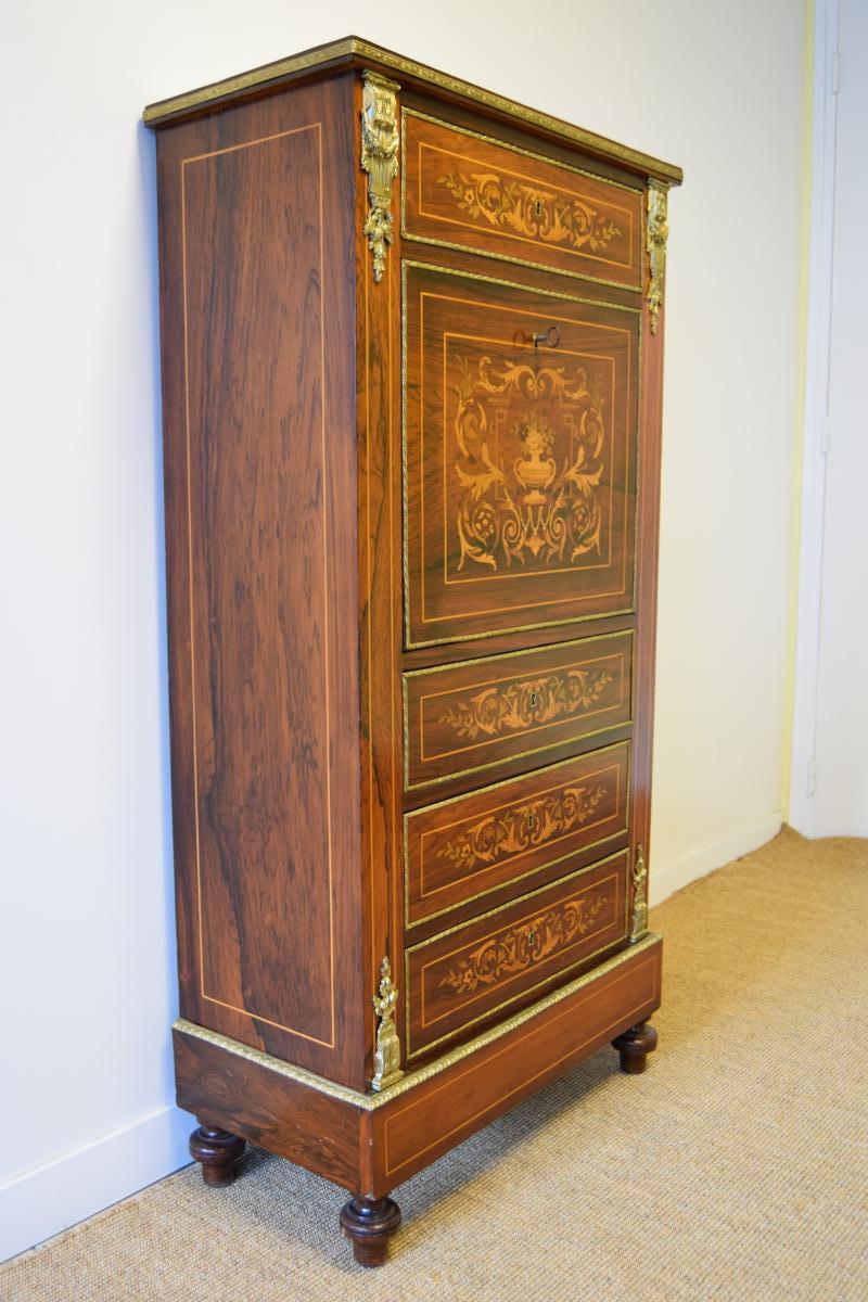 Secretaire En Marqueterie Napoleon III-photo-2