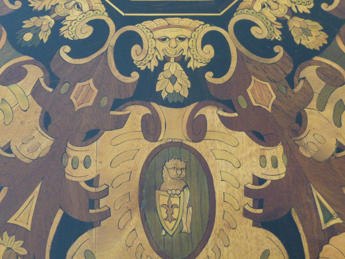 Napoleon III Marquetry Pedestal Table-photo-2