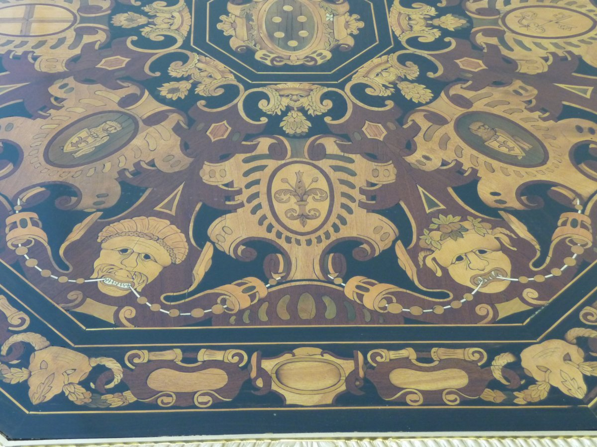 Napoleon III Marquetry Pedestal Table-photo-4