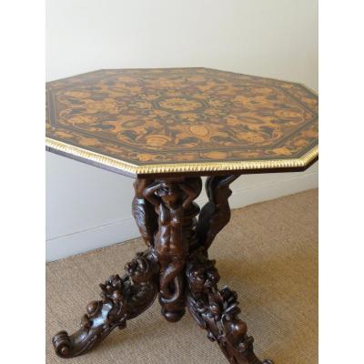 Napoleon III Marquetry Pedestal Table