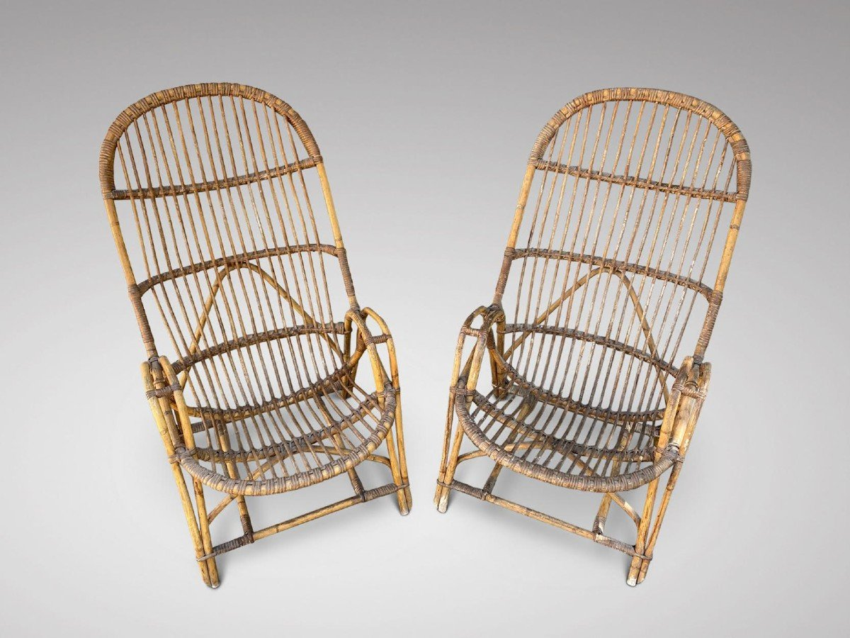 Set Of 4 Bamboo Armchairs In The Manner Of Franco Albini