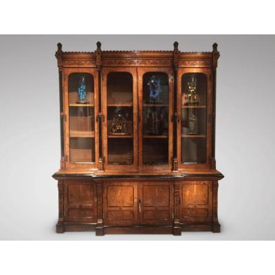 Fabulous 19c Pollard Oak Library Bookcase By Price & Delany