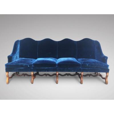 19c Walnut 4 Seater Hump Back Sofa