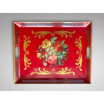 19c French Napoleon III Red Tole Tray