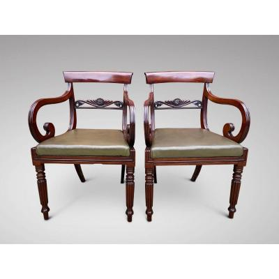 Pair Of 19c George IV Period Mahogany Armchairs