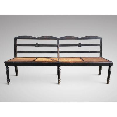 19c Fench Painted Hall Bench