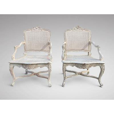 19c Pair Of French Painted Armchairs