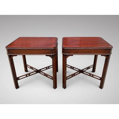 A Fine Pair Of 20c Mahogany Occasional Side Tables