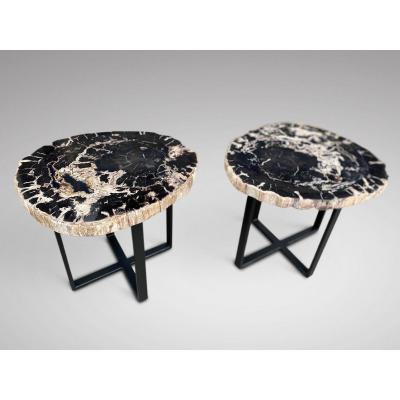 Pair Of Antique Sliced Marble Occasional Tables