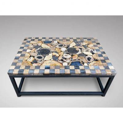 Antique Sliced Marble Stone Top Coffee Table