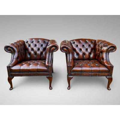 Great Quality Pair Of Leather Chesterfield Armchairs