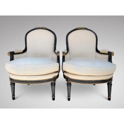 Pair Of 19c French Black And Gilded Bergères