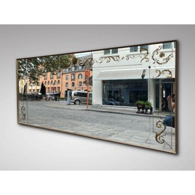 20c Large French Reverse Painted Wall Mirror