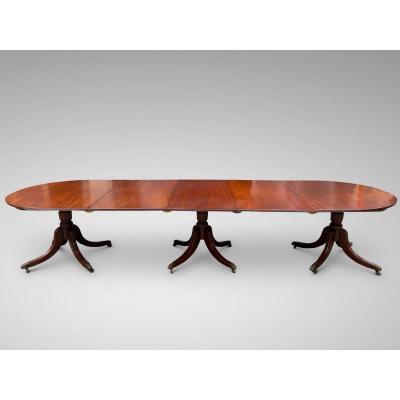 19c Large 3 Pillar Solid Mahogany Dining Table