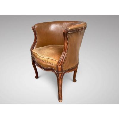 18c Louis XV Walnut & Leather Desk Chair