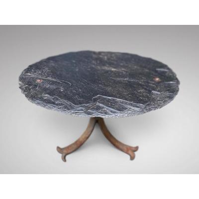 19c Iron & Slate Low Table Ardoise