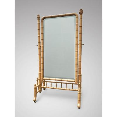19c Large Faux Bamboo Cheval Or Dressing Mirror