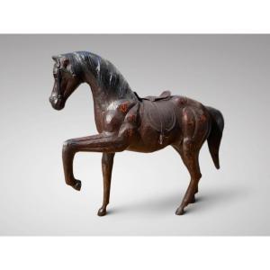 Sculpture de Cheval en Cuir