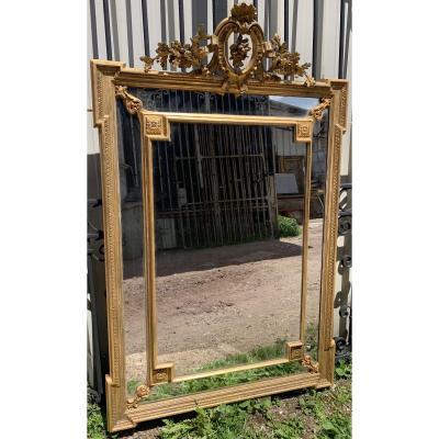 Grand Miroir Pare-close Napoléon III Au Mercure XIX ème