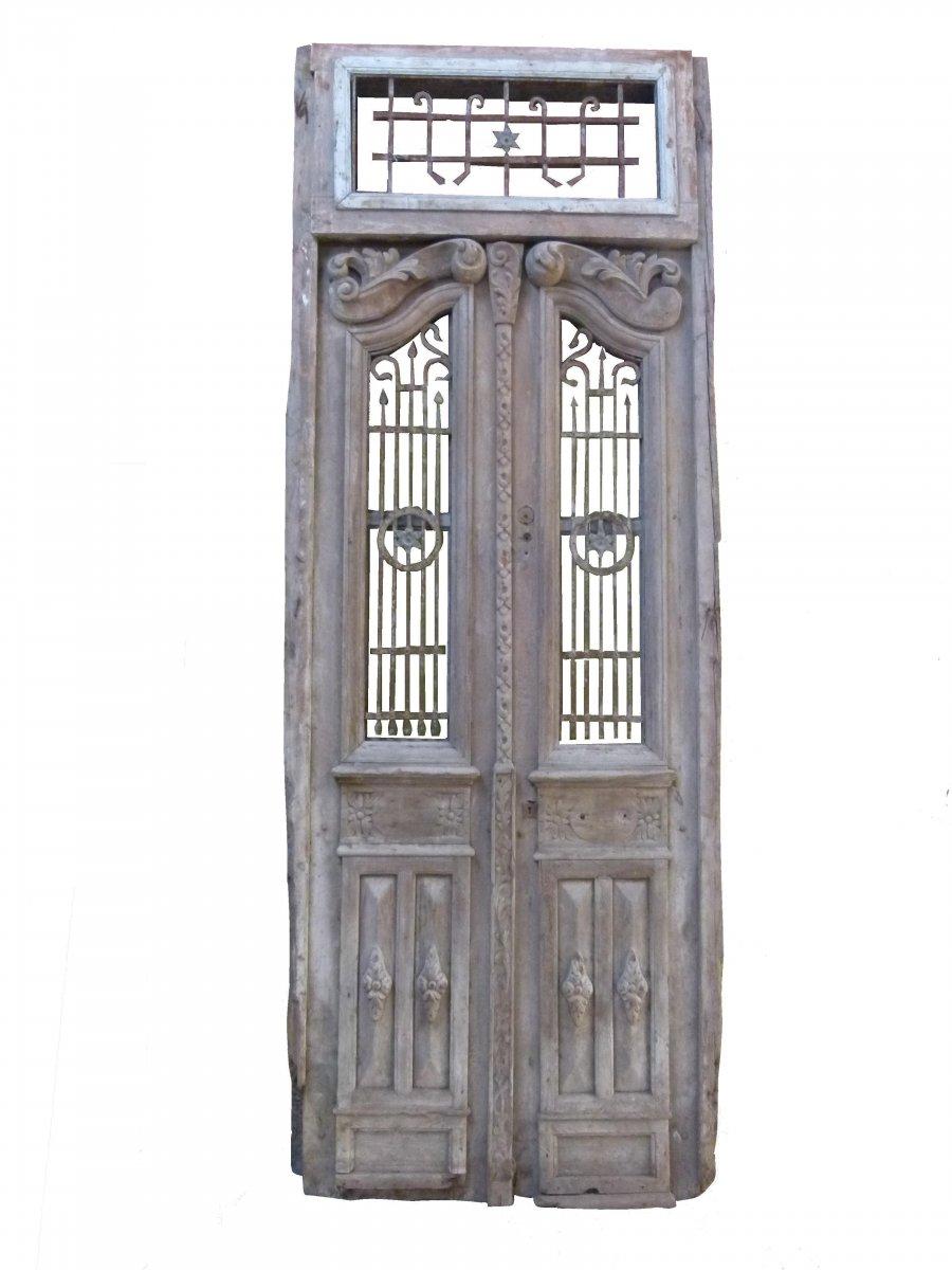 Porte En Bois Art Nouveau Debut XXeme