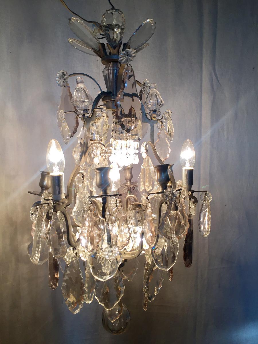 lustre en bronze argent et pampilles cristal lustres. Black Bedroom Furniture Sets. Home Design Ideas