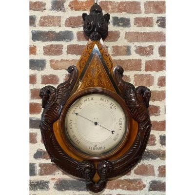 Barometer In Marquetry Charles X Period 19th