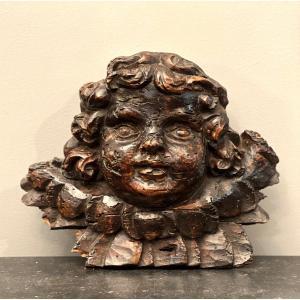 Tête d'Angelot En Bois Sculpté Epoque XVIIIème