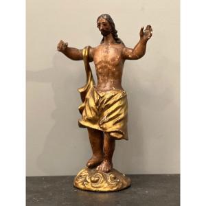 Christ En Bois Sculpte Polychrome Fin XVIIIeme