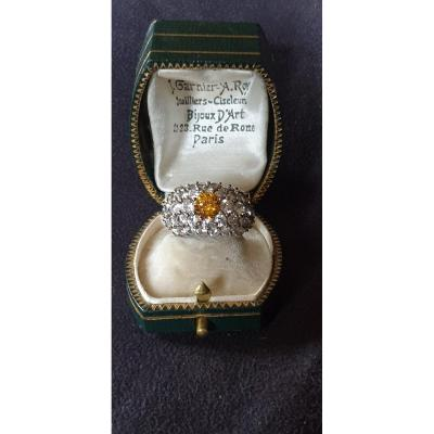 Dome Ring In Vermeil Set With Crystals Circa 1940