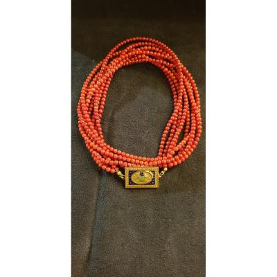 Coral Pearl Necklace And Enamelled Gold Clasp 19th Century