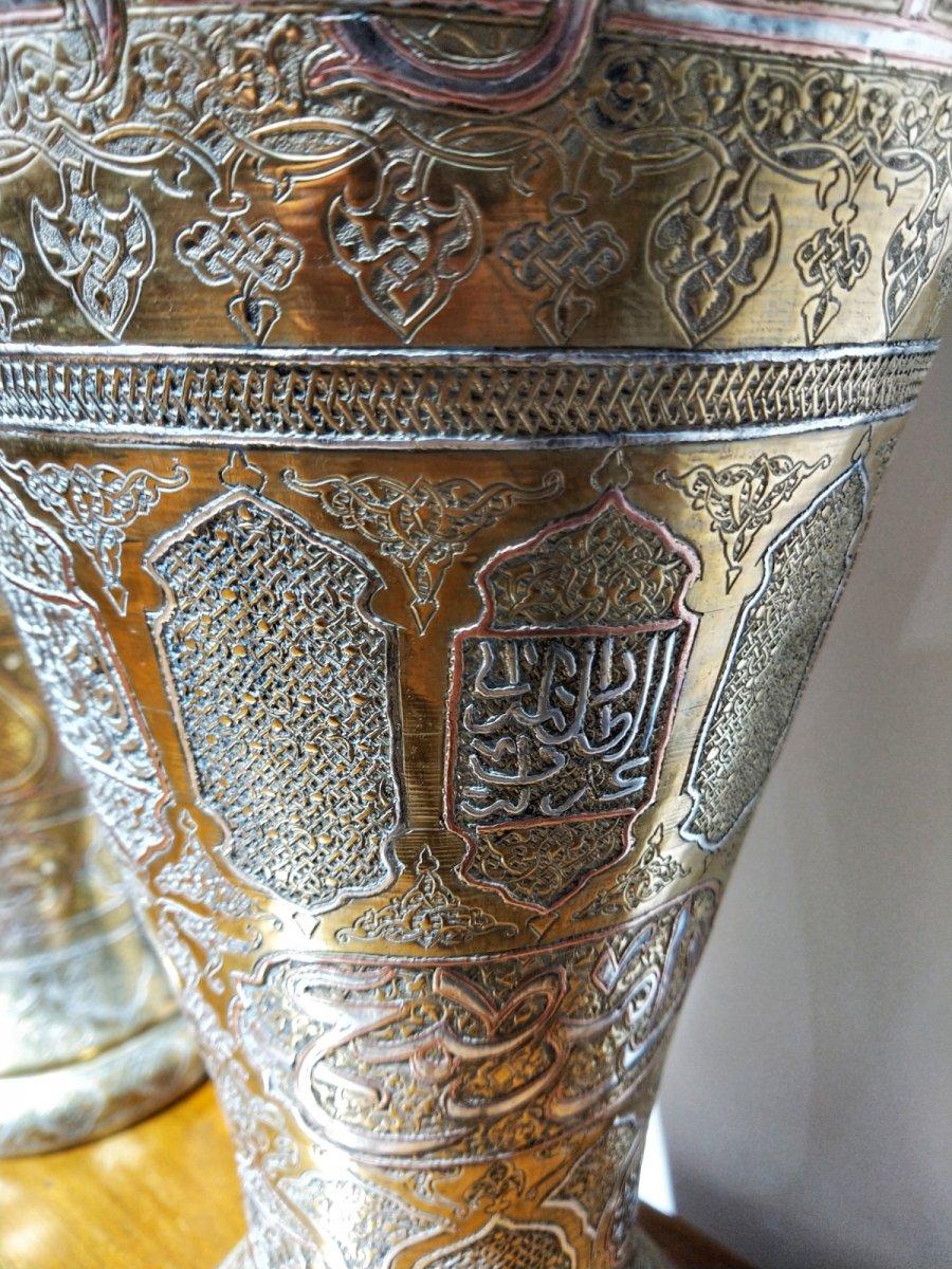 Paire De Vases Islamiques Marquetés d'Argent H 45 Cm. 19ème Siècle