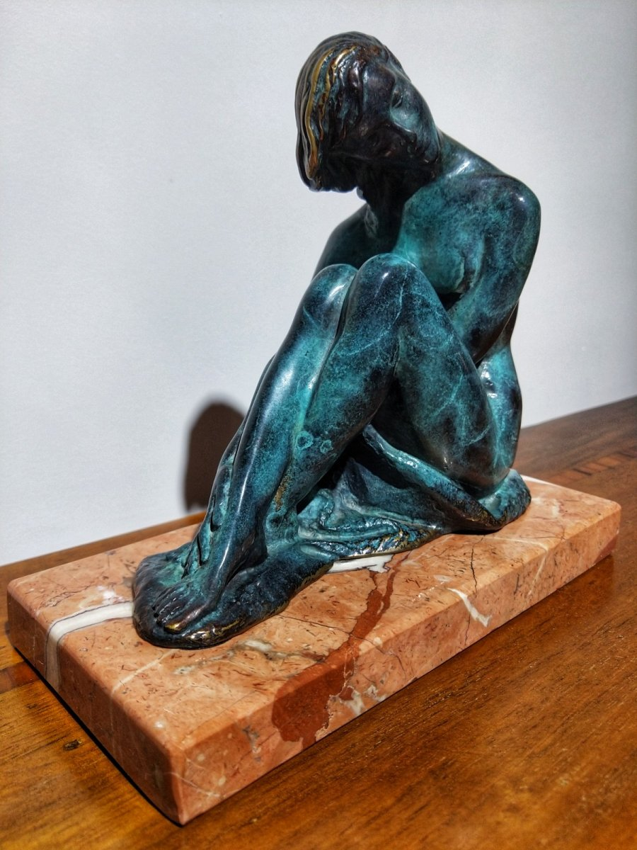 Juan De Avalos (1911-2006) Sculpture En Bronze Art Déco Le Coquet 20ème Siècle