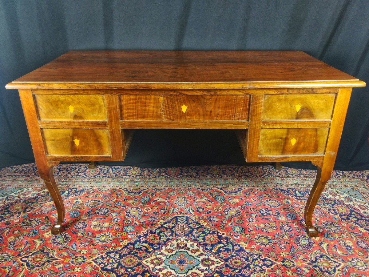Louis XV Desk In Solid Walnut 18th Century-photo-2