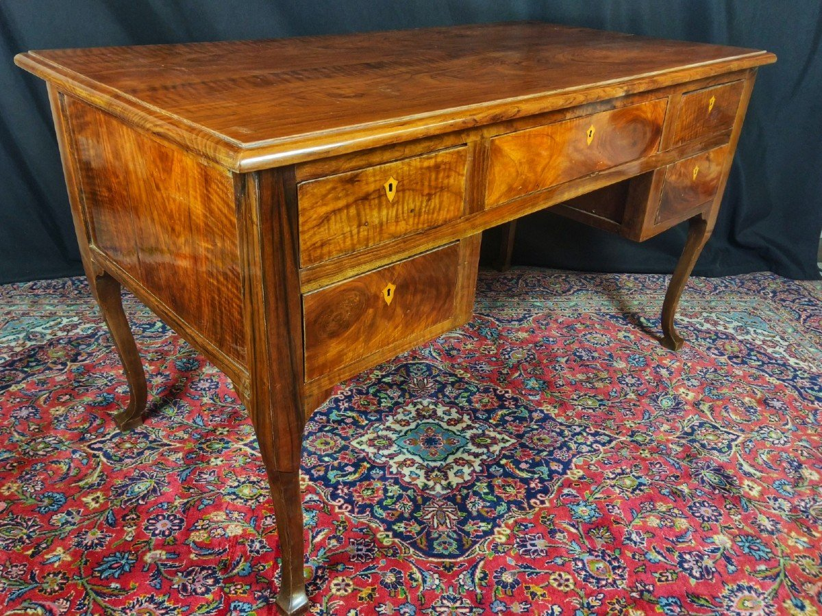 Louis XV Desk In Solid Walnut 18th Century-photo-4