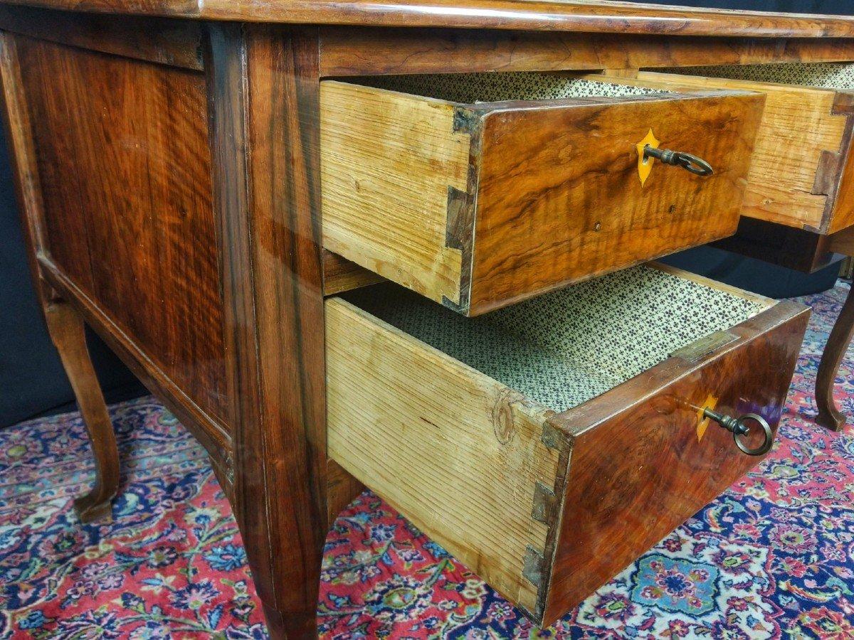 Louis XV Desk In Solid Walnut 18th Century-photo-3