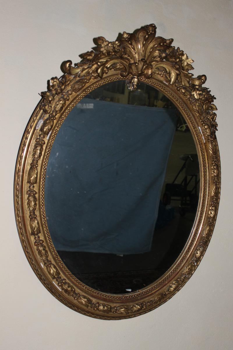 Miroir ovale en stuc dor de style louis xv poque for Miroir louis xv