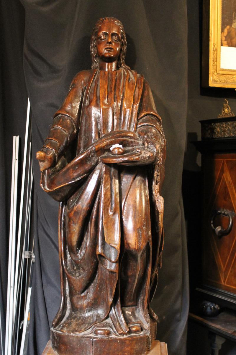Sculpture Sainte Agathe En Noyer, époque 18ème