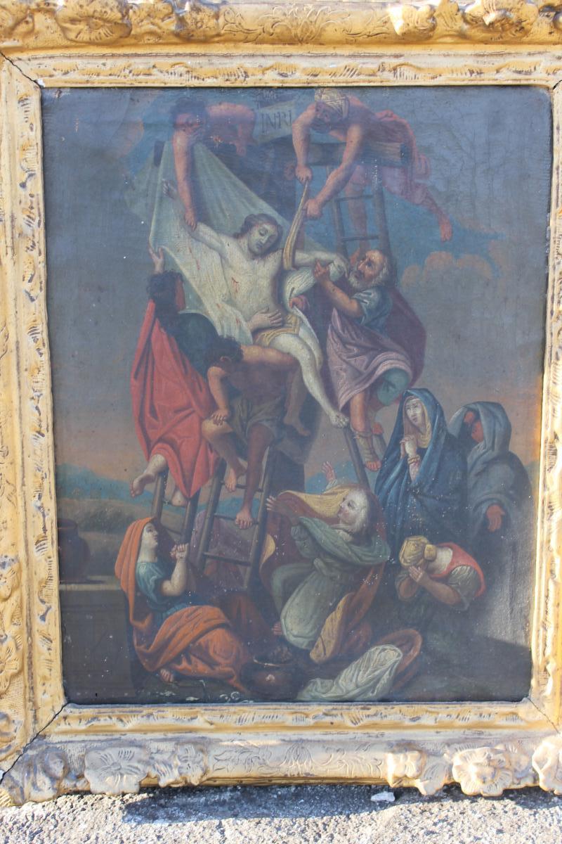Huile Sur Toile, Descente De Croix, Epoque 18ème