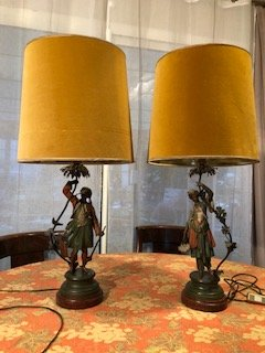 Pair Lamps In Regulates Polychrome Epoque Late 19th