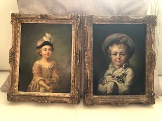 Peintures à l'Huile Sur Panneaux,  Paire De Portait d'Enfants Epoque 19ème