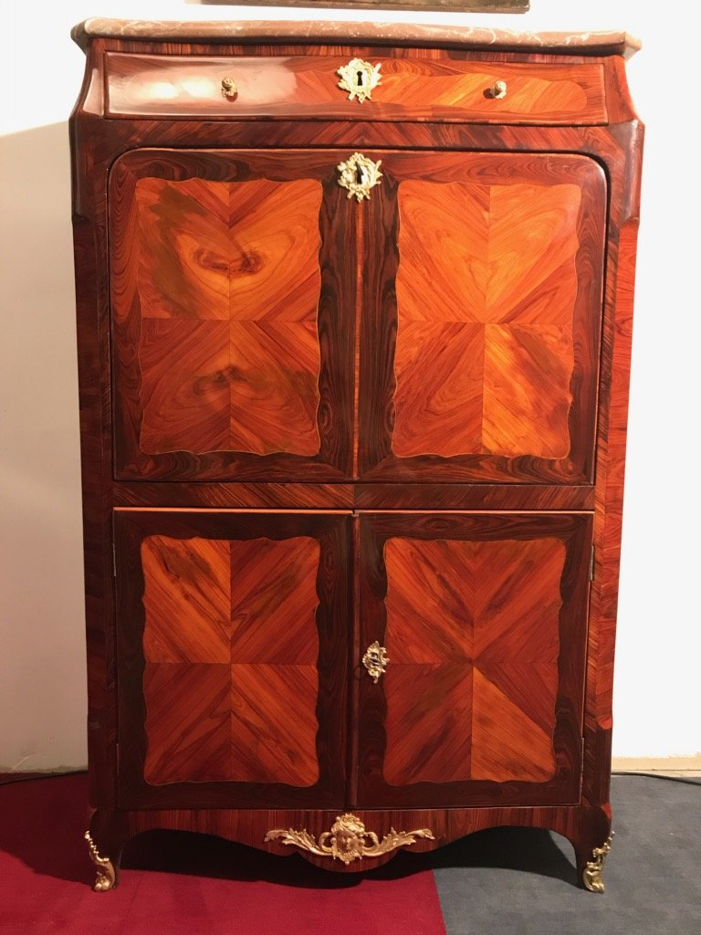 Secretary Of Lady Louis XV Period In Marquetry Of Rosewood And Amaranth, Parisian Work