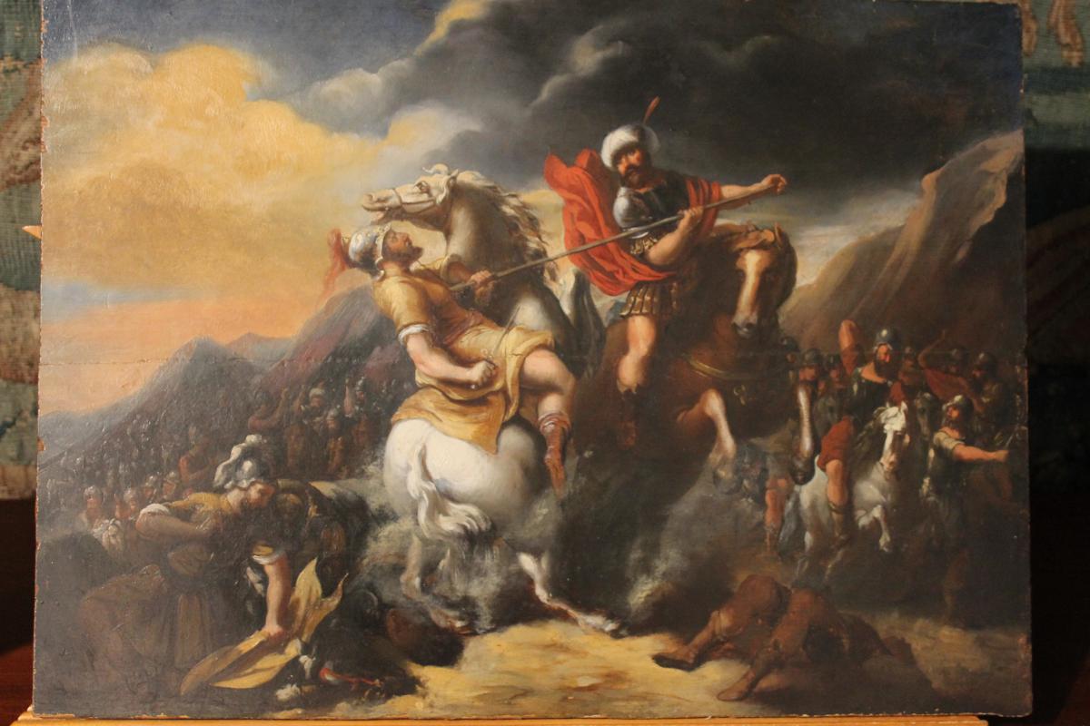 Peinture à l'Huile Sur Panneau, Scène De Bataille ...