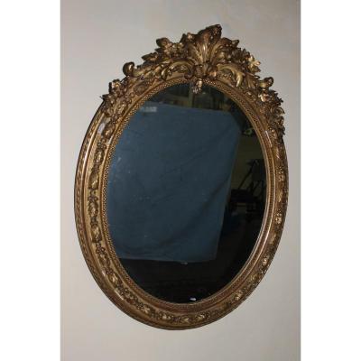 Miroir Ovale En Stuc Doré De Style Louis XV, époque Napoléon III
