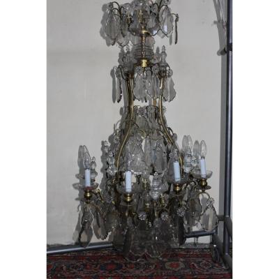 Lustre Cage En Cristal Et Bronze Doré époque 19ème