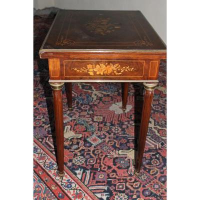 Table à Jeux Style Louis XVI En Marquèterie