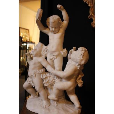 Sculpture En Marbre, Puttis Dansants, Epoque 19ème